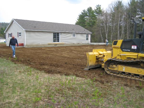 Clearing for creation of backyard by Bobby Senter of Razor Hill Excavating, Grafton NH
