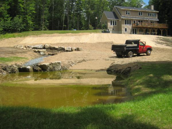 Garden pond sitework by Robert Senter of Razor Hill Excavation near Grafton NH